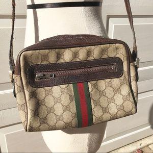 GUCCI vintage Shoulder logo Bag purse stripe